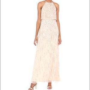 Adriana Papell Beaded Long Gown- Pale Nude